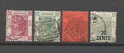 China Hong Kong Queen Victoria Lot of 4 SC #36, 43-33 & 51 Used Stamps