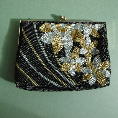 BEAUTIFUL VINTAGE Art Deco BEADED EVENING DRESS Bag/purse..c1950