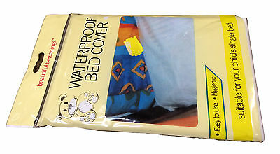 Childs Waterproof White Single Bed Cover Sheet Baby Cot Bed Mattress Protector
