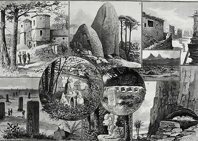 GUATAMALA Antiquities Ciudad Vieja Soconusco Lake Attlan Huge 1889 Antique Print