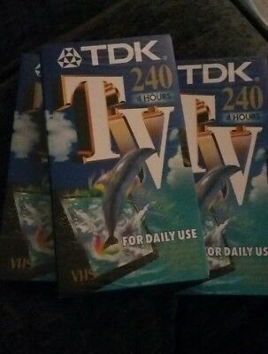 Set of 3 VHS blank tapes 4 hours