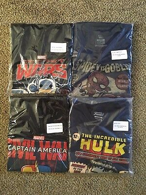 Lot of 4 FUNKO MARVEL COLLECTOR CORPS T-Shirts LARGE New Avengers Spiderman Hulk