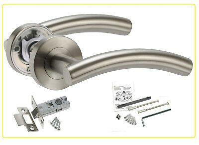 Stainless Steel style Door Handles Curved Lever Rose with Latch Satin Chrome