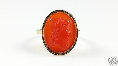 Antique 19Th Century 18Ct 18K Gold Ring Cameo Carnelian Stone Circa1890