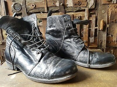 Stunning Pair black distressed all saints men's boots size 9/43 perfect!
