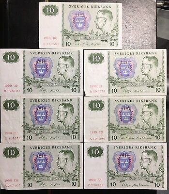 Sweden Circulated Banknote 10 Kronor 1990 Lot Of 7 Pcs, Free S/H