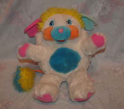 "Vintage Puffball Popple - 11"" Tall - White, Blue Belly- Fluffy, Soft"
