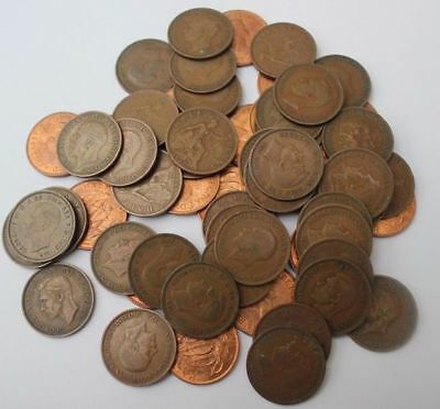 Bulk Qty 100 copper coins Pre Decimal british Pennies halfpennies old mixed lot
