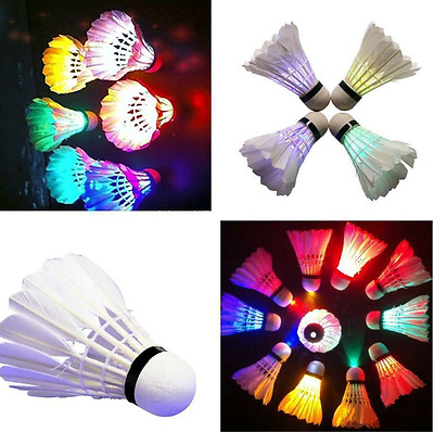 4Pcs Birdies Lighting Dark Night Colorful LED Feather Badminton Shuttlecock Tool