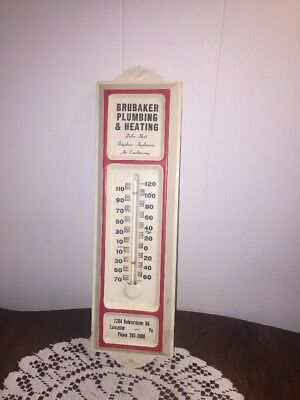 Vintage Brubaker Plumbing & Heating Metal Working Thermometer
