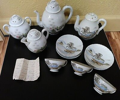 JAPAN HISTORICAL PORCELAIN TEA SET 1908 ACQUIRED on TEDDY ROOSEVELT Japan TRIP