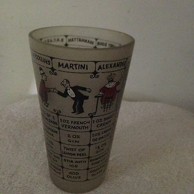 Vintage Mixed Drink Frosted Glass Shaker W/Retro Cocktail Recipes and Graphics