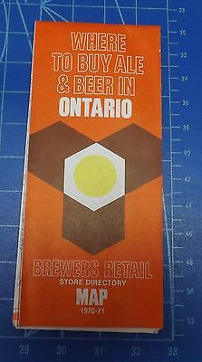 """1970 Brewers Retail """"Where to buy Beer in Ontario""""  Map in Nice Condition"""