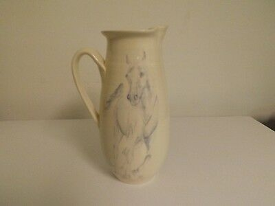 """Canadian Pottery Pitcher - with Horse under Glaze. About 10"""" tall."""