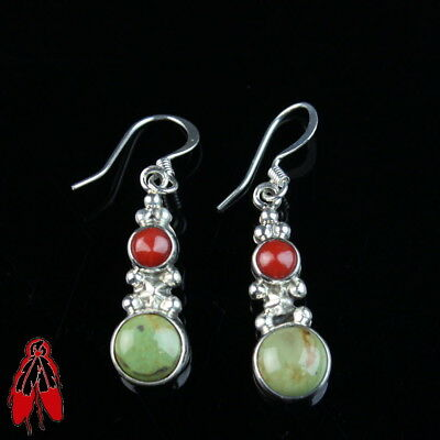 Native American turquoise coral sterling silver .925 earrings Navajo old pawn