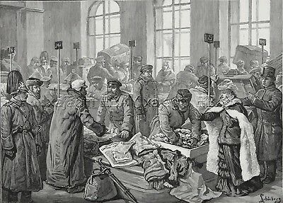 Russian Customs Officers Check Luggage TSA Large 1880s Antique Print & Article