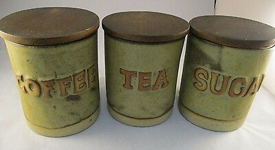 Tremar Pottery Tea Coffee And Sugar Cannisters - Rustic Stoneware