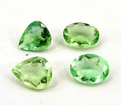 58.90 Ct Natural Green Fluorite Loose Gemstone Faceted Lot of 4 Pcs - 16324