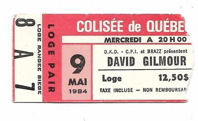 Rare David Gilmour 1st North American Solo tour! ticket stub Pink Floyd 1984