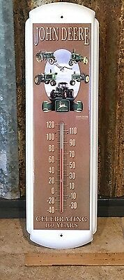 Vintage 1997 John Deere Tractor 160th Anniversary Metal Thermometer Sign