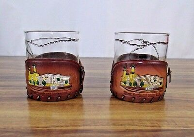 2 Murat Temple & Shrine Club Glasses With Leather Holders Robert Wilds Vintage
