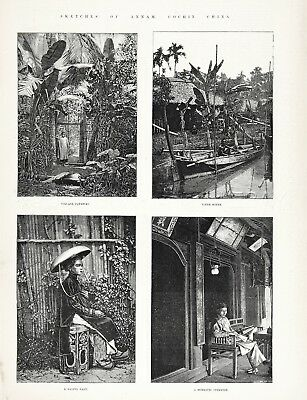 Vietnam 4 Views of Cochinchina and Annam, Large 1880s Antique Print & Article