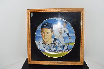 """Signed Framed World Series Wind Up 16 Whitey Ford 10"""" Plate 1990 NYC Yankees"""