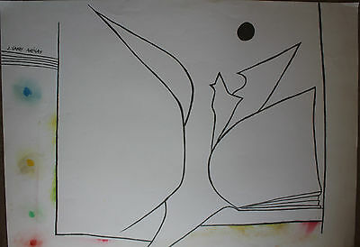 Joan GARDY-ARTIGAS ( MIRO ) - Très grand dessin original signé drawing dibujo *