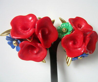Vintage Large Lucite Earrings, Red White Blue Flower Clip on Earrings, Unique