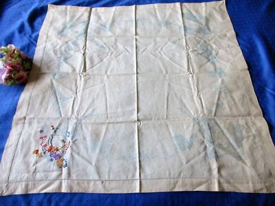 """Vintage Irish Linen Tablecloth~Stamped With Scenes Of London~Unfinished~37"""""""