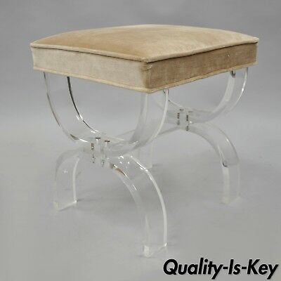 Hill Mfg Bent Lucite X Form Vanity Bench Seat Stool Hollywood Regency MCM chair