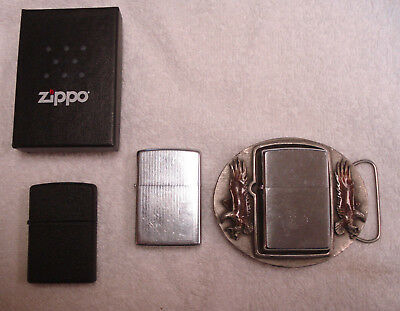 Lot Of 3 Vintage To Now Zippo Lighters Belt Buckle Black Crackle USA