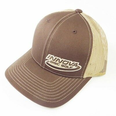 (Brown/Tan) - Innova Logo Adjustable Mesh Disc Golf Hat. Huge Saving