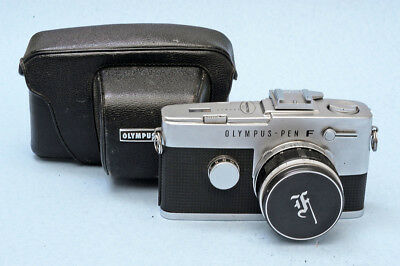 Olympus Pen-F with Zuiko 1:1.8/38mm lens. Case and cap. Nice condition.