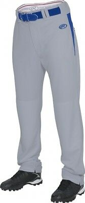 (Large, Blue Grey/Royal) - Rawlings Men's Semi-Relaxed Pants with Waist Inserts