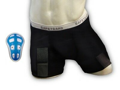 (Medium, Black) - SafeTGard Mens Hockey Compression Short with Cage Cup