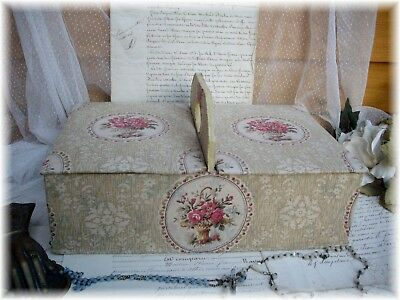 EXQUISITE ANTIQUE FRENCH SEWING BOXE FABRIC COVERED LOVELY BASKET ROSE 19th