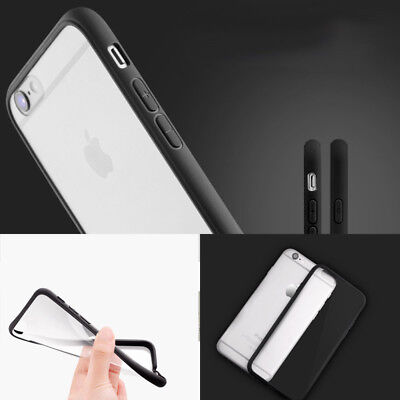 PC Silicone Protective iPhone 6 6s Case Ultrathin Slim Transparent Black Side