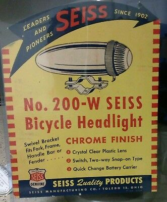 1957 Seiss Bicycle headlamp light Autocycle Sign ORIGINAL Store Display toy