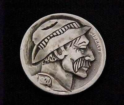 Cowpoke Johnny Five Hand Carved folk art coin Hobo Nickel 1304