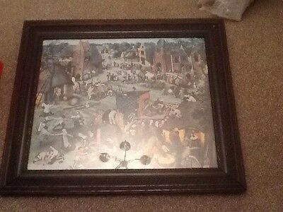 large antique wooden framed picture