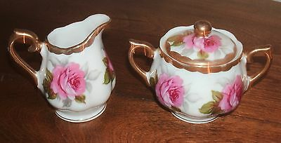 Old Fancy Shabby Pink Cabbage Rose Small CREAM Pitcher & SUGAR 3pc Set~Free Ship