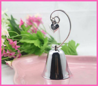 100 Silver Kissing Metal Bell Name Card Holder Wedding bomboniere favour heart