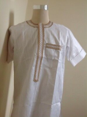African Men Clothing, 2 Piece  White Top And Trouser Large