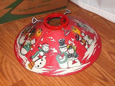 1950's Vintage Coloramic Red Tree Stand In Box Mr & Mrs Snowman