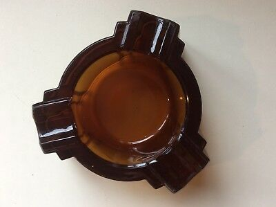 Very Rare Vintage Art Deco Amber Frosted Heavy Glass Ashtray