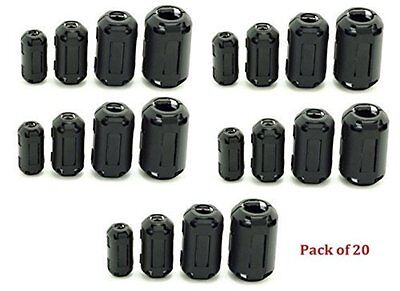 AUCH Noise Filters 20Pcs Clip-on Ferrite Ring Core Black RFI EMI Suppressor For