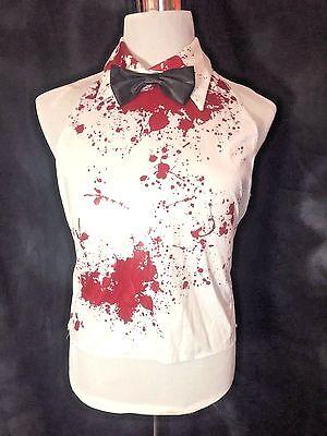 Bloody Shirt and Bowtie Faux Costume Piece walking Zombie Splatter Adult XL dead