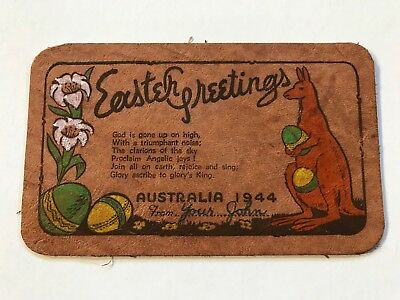 WWII 1944 Australia Easter Greetings Leather Military Greeting Card