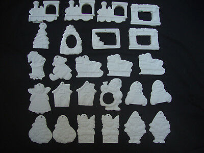 Lot Of 25 Ceramic Christmas Ornaments To Paint Santa Frames